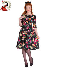 HELL BUNNY 50's HERMELINE DRESS fox WOODLAND vintage style ANIMAL BLACK XS-4XL