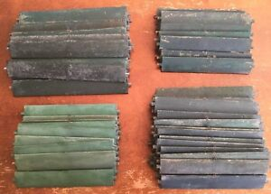 OLD VTG ANTIQUE WOOD SHUTTER LOUVER GREEN ART CRAFT SLAT PLANK HOOK LOT OF 85