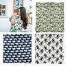 Green Leaf Newborn Muslin Baby Cotton Blanket Swaddling Bedding Wrap Bath Towel