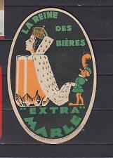 Ancienne étiquette Bière Alcool France Brasserie  Marle Femme La Reine des Bière
