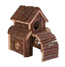 Finn Natural Wooden 2 Storey Play House with Ramp for Gerbils Mice & Hamsters