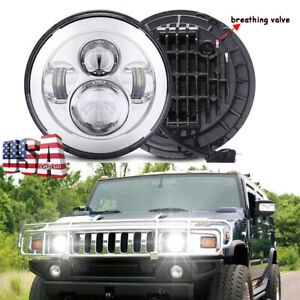 """DOT Approved Chrome 7"""" Round LED Projector Hi/Lo Beam Headlight for Hummer H1 H2"""
