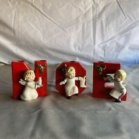Vintage Napco Christmas Angel NOEL Letter Wall Pockets Bell Candle Stocking No L