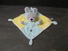 doudou lapin gris bleu ciel jaune si mignon dessous rayure simba toys état neuf