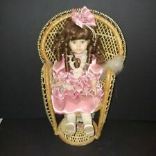 """Porcelain Doll  Fancy Dressed 18"""" X 11"""" Including Chair"""