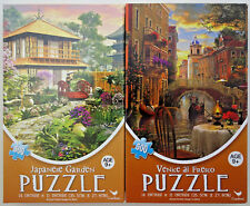 jigsaw puzzle lot of 2 Cardinal 500 pc Venice al Fresco & Japanese Garden
