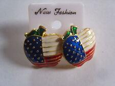 Ohrring  Amerikanische Flagge aus Email in Apfelform ca.2,5 cm  2055