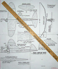 FUNSTER PLAN to Scratch-Build an .02 Powered Old Time FF Balsa Model Airplane