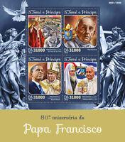 Sao Tome & Principe 2016 MNH Pope Francis 80th Bday 4v M/S Barack Obama Stamps