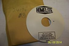 1 Homelite chainsaw Xl 98 blotter space #24174 New Nos