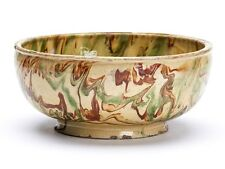 Antique Yellow Ware Bowl With Mottled Glazes 19Th C.