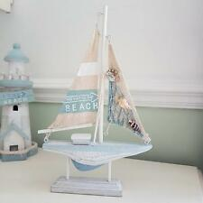 BLUE & WHITE WOODEN SAILING BOAT COASTAL CHIC N SHABBY NAUTICAL DECORATION