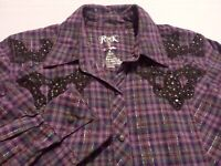 Wrangler Womens Small Long Sleeve Pearl Snap Multicolor Plaid Western Shirt