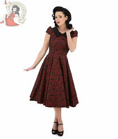 HEARTS and ROSES H&R LONDON 50's REGINA BROCADE FLORAL party DRESS RED