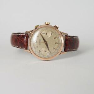 Vintage Eberhard & Co Pre Extra Fort Chronograph Valjoux 65 Steel & Rose Gold