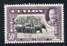 Ceylon 1935 KGV 50c Wild Elephants SG 377 mint