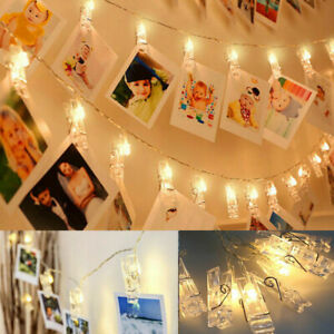 10-50 LED Window Hanging Photo Picture Peg Clips Fairy String Lights Party Decor