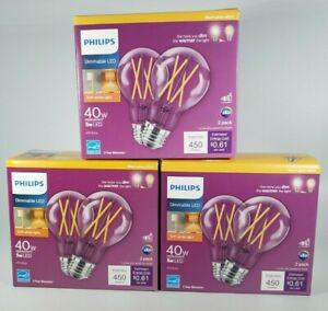Philips 40 Watt 3 Packs/6 Bulbs A19 Dimmable Warm Dimming Effect Clear Glass LED