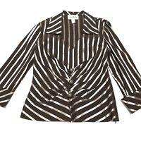 Joseph Ribkoff Metallic Striped Collared Blouse Size 8
