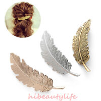Fashion Metal Leaf Shape Hair Clip Barrettes Crystal Pearl Hairpin Feather hi
