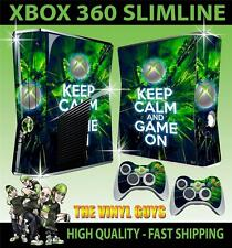 XBOX 360 SLIM ADESIVO KEEP CALM AND GIOCO SU PELLE & 2 Pelli di Pad