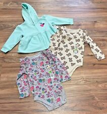 NWT 18M 3 Piece Garanimals Lot Teddy Bear, Owl Bodysuits, Mint Fleece w Hearts