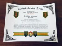 U.S. ARMY ~ INFANTRY DIVISIONS / CERTIFICATE OF SERVICE / With FREE PRINTING