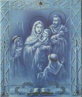 VINTAGE CHRISTMAS MADONNA CHRIST CHILD JOSEPH WISE MEN BLUE WHITE GOLD ART CARD