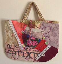 Bag Cotton Lace velvet Purse Handmade Quilted13x17nch Pockets 2 Handes pinks