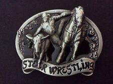 New Steer Wrestling Rodeo Belt Buckle