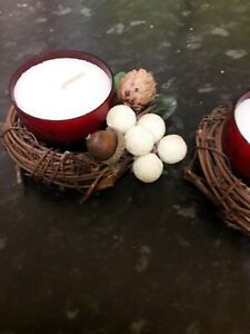 2 Winter Candle Rings With Holders