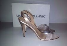 NEW! MANOLO BLAHNIK Pearl Satin Fieno Summer Sandals Heels - Size 40.5 US 10.5
