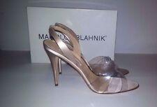 MANOLO BLAHNIK Pearl Satin Fieno Summer Wedding Sandals Heels Size 40.5 US 10.5
