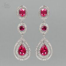 Rhodium Plated Fuchsia Crystal Rhinestone Chandelier Drop Dangle Earrings 06897