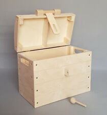 Plain Wood Large Box With Hasp and Lock Storage Toys Tool Treasure Chest Handles