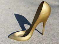 Oversized High Heel Shoe Retail Store Display Fixture Prop Gold Large Antique