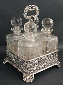 Antique George Collis Sheffield Silver Plate Decanter Tantalus Cut Glass Bottles