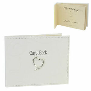 Guest Book Wedding Day Ivory Colour Leather Effect Crystal Heart Engraved Free