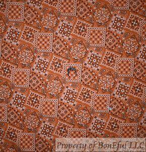 BonEful FABRIC FQ Cotton Quilt Orange White Bandana Flower Paisley Block Square