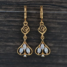 Fashion Women Clear Cubic Zirconia CZ Palace Flower Dangle Earrings Jewelry