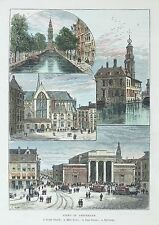OLD ANTIQUE PRINT AMSTERDAM NETHERLANDS CITY VIEW TRAMS  DAM SQUARE c1880's