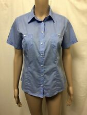 RM WILLIAMS BLOUSE SHIRT WOMEN ~ 8 ~ GREAT COND SHORT SLEEVES POLO TOP PATTERNED