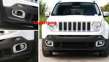 For Jeep Renegade 2015 2016 Outer ABS Chrome Front Fog Light Trim Cover 2pcs