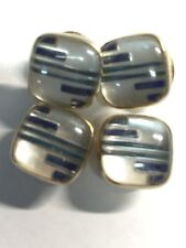 Kum-A-Part Snaps CuffLinks - Patt. 1923 Deco Teal/ Blue Design UnderGlass (CL80)