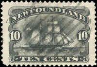 1894 Canada Used Newfoundland 10c VF Scott #59 Schooner Stamp