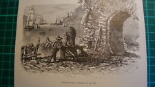 antique print 1892 Dartmouth in South Devon gate
