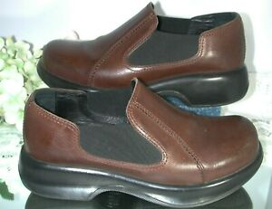 DANSKO Womens Sz 39 Brown Leather Slip-On Clog Elastic Nursing Work NICE!!