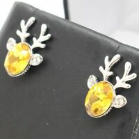 Sparkling Yellow Citrine Earring Women Holiday Jewelry 14K White Gold Plated