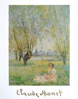 Claude Monet Frau unter Bäumen Poster Kunstdruck Bild 80x60cm