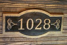 Carved Address Sign Large Antique Brass Finished Wood Custom Plaque